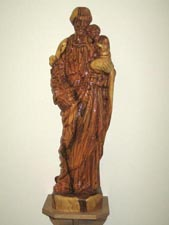 Statue of St Joseph, in the church porch